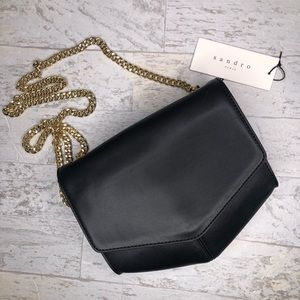 Sandro Lou Black Leather Crossbody Bag New